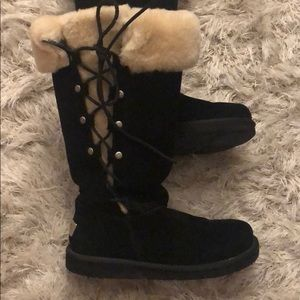 Ugg upside black lace up classic boots